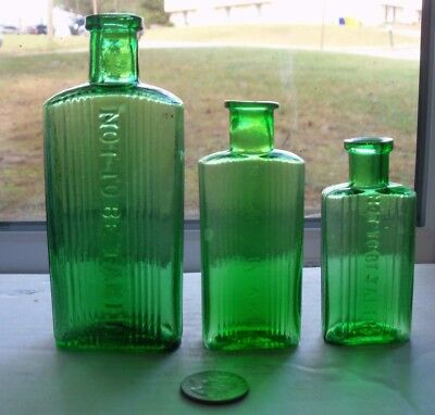 Three Different Ridge Green Poisons Embossed, Not To Be Taken