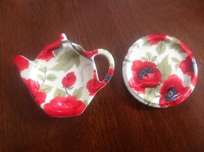 Kirsty Jayne China Red Poppy Teabag Tidy,matching Spoon Rest Chintz Kitchenware
