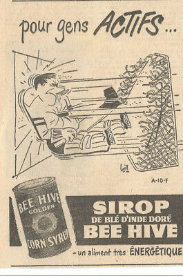 1951 Bee Hive Golden Cron Sirop -For Active Peolples Original Ad In French