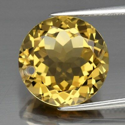 Clean! 8.92ct 14mm IF Round Drilled Natural Yellow Citrine, Brazil