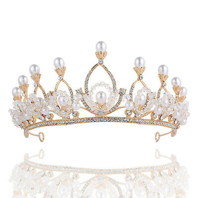 Gorgeous Pearls Rhinestone Baroque Wedding Bridal Crown Tiara Bride Headpiece BE