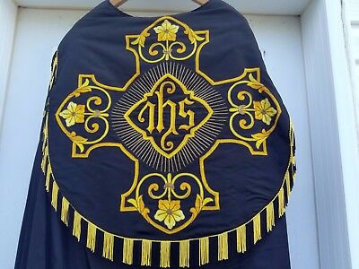 Vintage 1900's Religious Catholic Cope Chasuble W Gold Embroidery IHS Motif Old