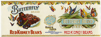 Vintage 19th/20th Century Butterfly Red Kidney Beans Canning Label Olney & Floyd