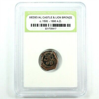 Medieval Bronze Nummis Coin with Clear Lion and Castle c. 1500 - 1690's A.D.