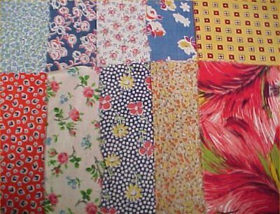 10 BEST 1920s Print Vintage Cotton Quilt Fabric Scraps Pretty Floral Remnants