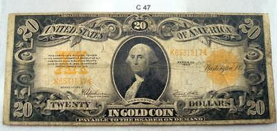 1922 $20 Washington Gold Certificate Fr1187  #c47