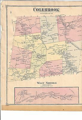 VINTAGE 1874 Colebrook,  Robertsville,  CT. Map with Homeowners Names Shown