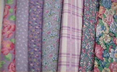 Mix Lot Vintage Cotton Quilt Fabric All Lilac Print Quilters ESTATE Material Sew
