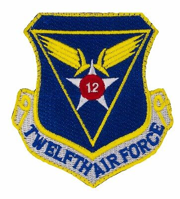"""USAF 12th Air Force Shield Patch w/ Hook (743) 3"""" x 3"""" Embroidered Patch 35379"""