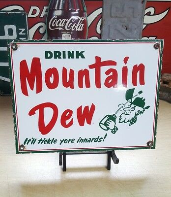 MOUNTAIN DEW porcelain sign vintage vending machine plaque soda fountain display