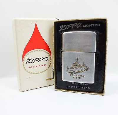 Vintage Zippo Lighter Engraved US Navy USS Pinnacle Minesweeper Ship MSO-462