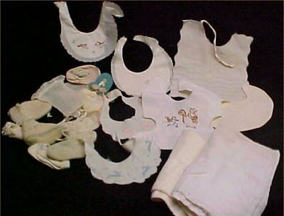 Vintage Antique Baby Doll Bib Diapers Booties LOT 1900-50s Eras Tuck Embroidery