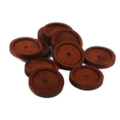 10pcs Antique Round Wooden Cameo Base Setting Tray for Glass Cabochon DIY