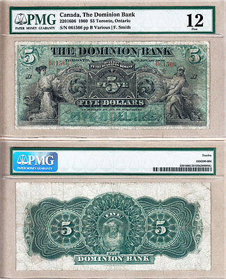 Very Rare 1900 $5 The Dominion Bank Early Issue, PMG Fine 12. Charlton 220-16-06