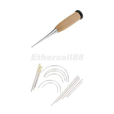 15pcs Wooden Handle Awl Sewing Needles Set for Leather Stitching Hand Repair
