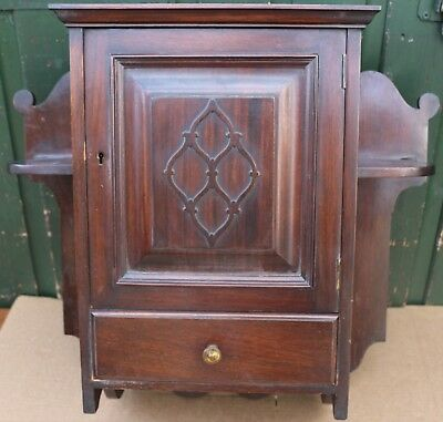 Wonderful Old Small Wooden Wall Hanging Cabinet With Drawer & Side Shelves