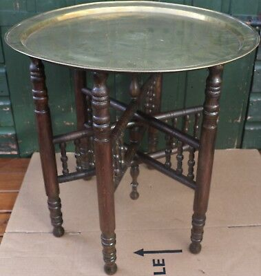 Splendid Looking Old Brass Topped Foldaway Occasional Table With Fab Looking Leg
