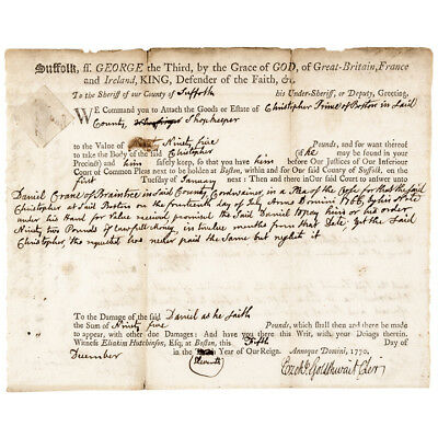 JOHN ADAMS + SAMUEL QUINCY BOSTON MASSACRE TRIAL ATTORNEYS SIGNED Dec. 5, 1770 !