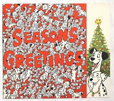 S484. Vintage: WALT DISNEY STUDIO Christmas Card 101 Dalmatians (1960) UNUSED [