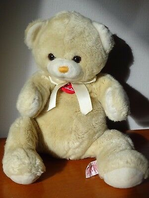 Ours Marque Trudi Peluche Beige Clair 40 Cm Noeud Satin Ivoiremedaille Rouge