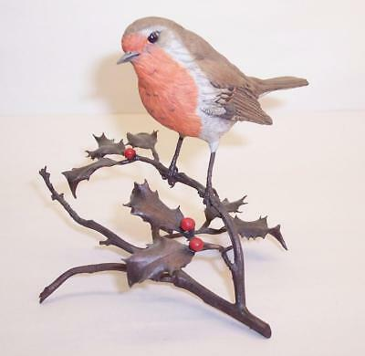 Vintage COALPORT CERAMIC ROBIN On BRONZE HOLLY BRANCH Worcester Albany Style