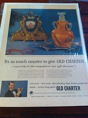 Vintage 1953 Old Charter French Porcelain & Bronze Dore Rotary Clock Print ad