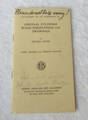 Last Helen Hyde Exhibition Etchings Wood Cuts Drawings Catalog Albert Roullier