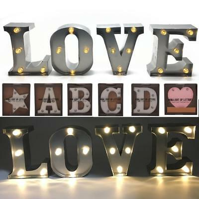 Vintage Style Metal Light Up Letters Free Standing Or Wall Hanging