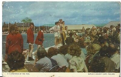 Butlins Holiday Camp Pwllheli A Competition By The Pool 1956 Pc