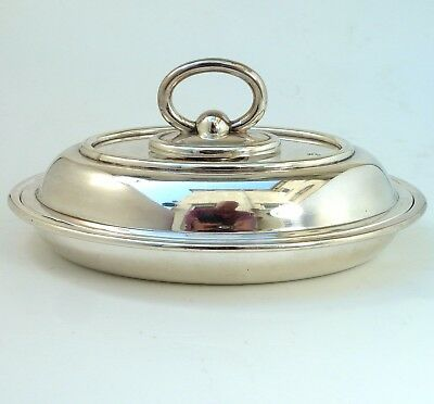 Silver Lidded Entree Dish With Detachable Handle Oval Form