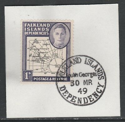 Falkland Deps 5899  1946 KG6 Maps 1d with MADAME JOSEPH FORGED POSTMARK