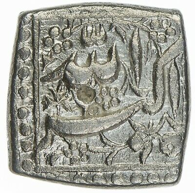 India Mughal Akbar 1556-1605 AR Square Rupee IE34 NM KM#91.1