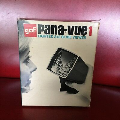 """Vintage GAF Pana-Vue 1 Lighted 2"""" x 2"""" Slide Viewer with Box and Instructions"""