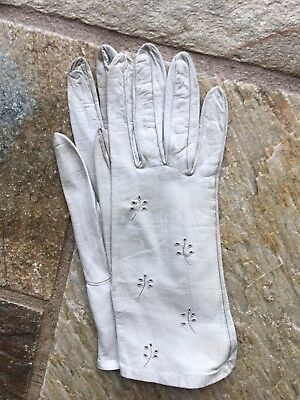 Vintage Ladies Kid Leather Embroidered Gloves By Dents Size 6.5 1960s Pale Green