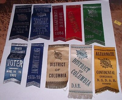 10 Daughters of the American Revolution DAR Ribbons 20s 30s Congress , Wash DC