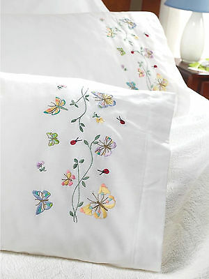Stamped Embroidery ~ Plaid-Bucilla Butterflies in Flight PILLOWCASES (2) #45076