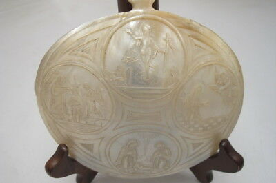 Antique Carved Mother Of Pearl Shell Plaque Religious Scenes