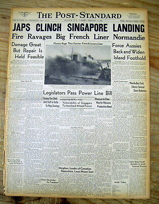 5 1942 WW II hdl newspapers JAPANESE ATTACK & CAPTURE SINGAPORE from the British
