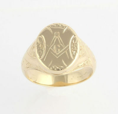 Antique Fellowcraft Mason Ring - 14k Gold Hand Engraved c.1870s-80s 2nd Degree