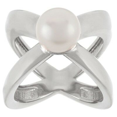 QVC Honora 14K White Gold Over Cultured Pearl 9.0mm X Design Bronze Ring Size 8