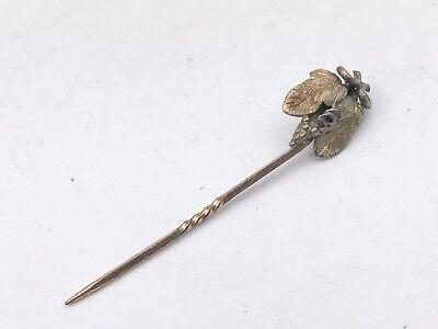 ANTIQUE SOLID 9ct GOLD BEE WASP FLOWER TOP LADIES HAT PIN BROOCH STICK