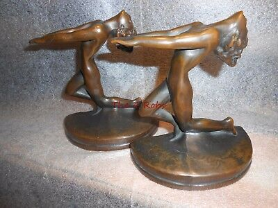 Pair of Antique Solid Bronze Art Deco Nude Lady Bookends