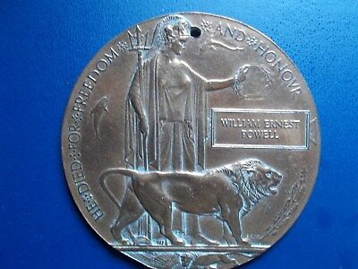 Death Plaque 2 possibles both kia on Somme and both KRRC William Ernest Powell