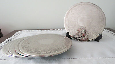 Vintage Silver Plated PLACEMATS - set of 7 - Gorgeous Etched Scroll Pattern