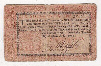 Pennsylvania  6 Shillings  April 10,1777  Red And Black Ink