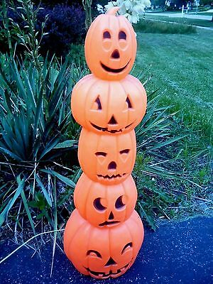Halloween Blow Mold Union Featherstone Pumpkin Stack Totem Pole Next Day Ship!