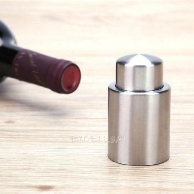 Large Stainless Steel Press Type Reusable Vacuum Sealed Wine Bottle Stopper Cap