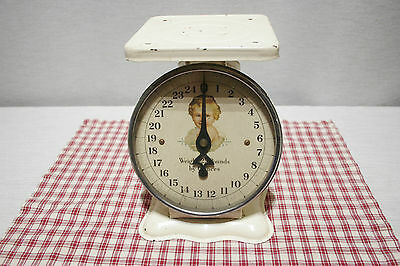 Vintage Metal Baby Scale 25 lbs. Baby Graphic, Works, Excellent for Display!