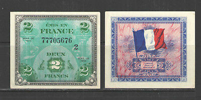 France WW II ALLIED MILITARY CURRENCY P114b 2 FRANCS 1944  UNC