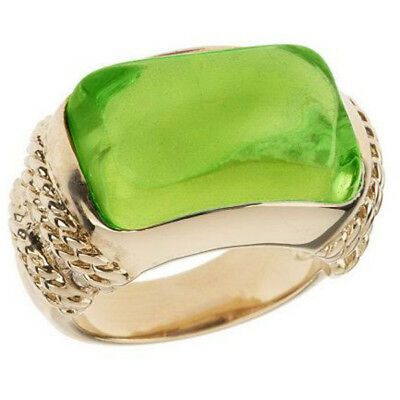 Francesca Visconti's Silvertone Domed Clear & Green Cabochon Ring 5